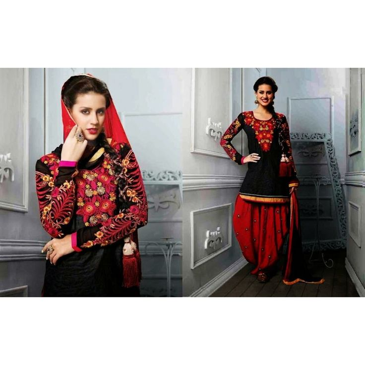Patiala style semi-stitched Salwar suit of kurta Black color and salwar of Red color
