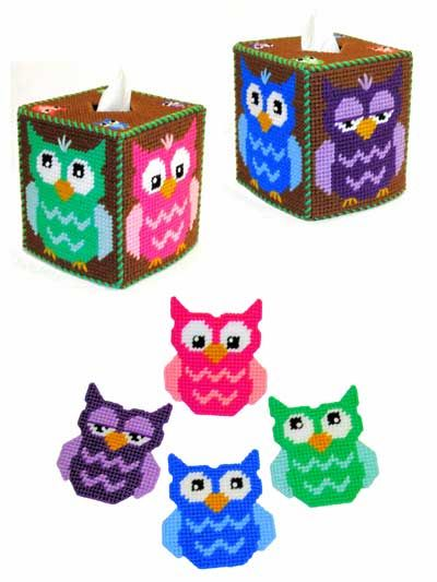 """Bright Eyes Owl Decor Set $6.99 issue topper and coasters are stitched on 7-count plastic canvas using worsted-weight yarn. The tissue topper fits a boutique tissue box, and the coasters are 4""""."""