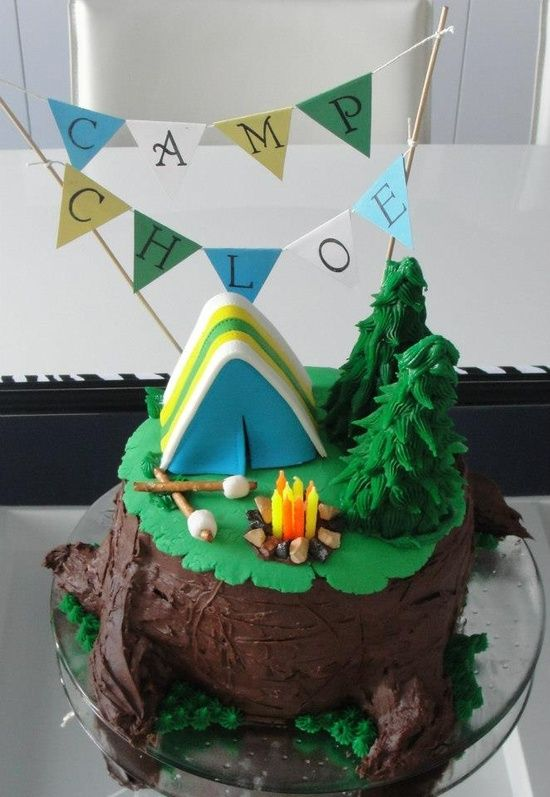 Camping Birthday Cake Cakes Pinterest Birthdays
