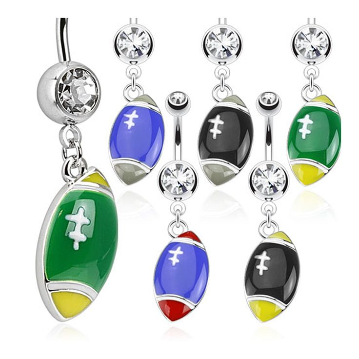 Football Dangle Multi Colored 316L Surgical Steel Navel Belly Button Ring with