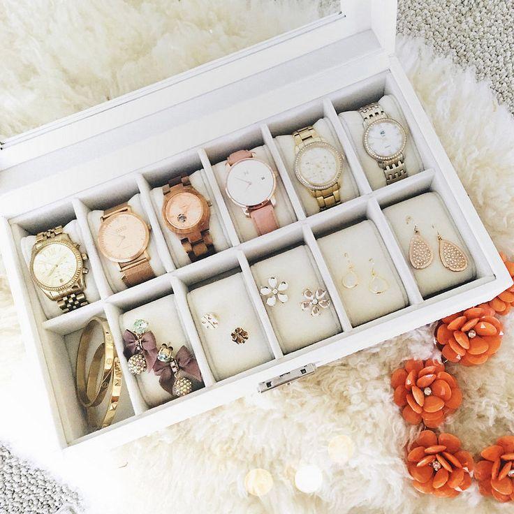 cute & little blog | petite fashion | white watch organizer case | home decor