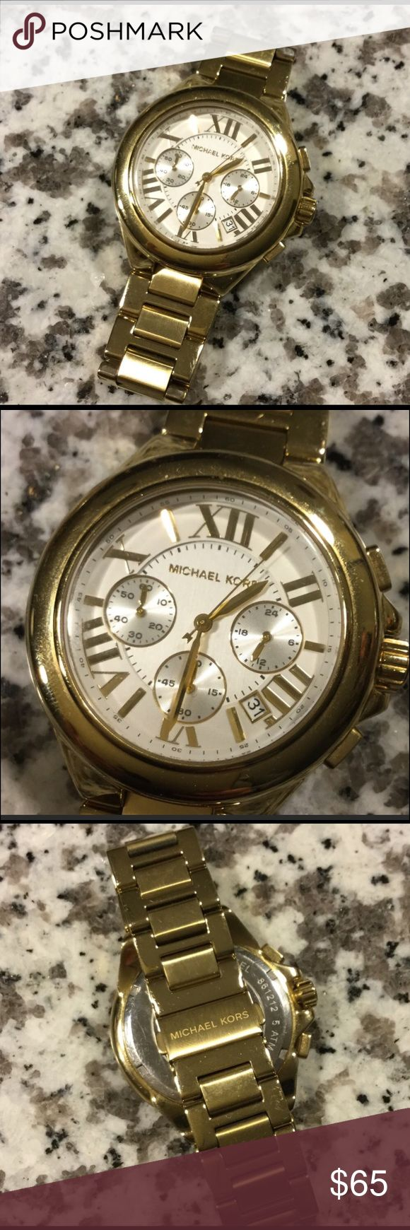 """AUTHENTIC Michael Kors Gold Oversized Watch This watch is a staple piece! Comes as is. 100% authentic. Has 2 links taken out. Fits up to 8"""" wrist. Has minor scratches. Needs a new battery. Overall great condition for the price! MICHAEL Michael Kors Accessories Watches"""