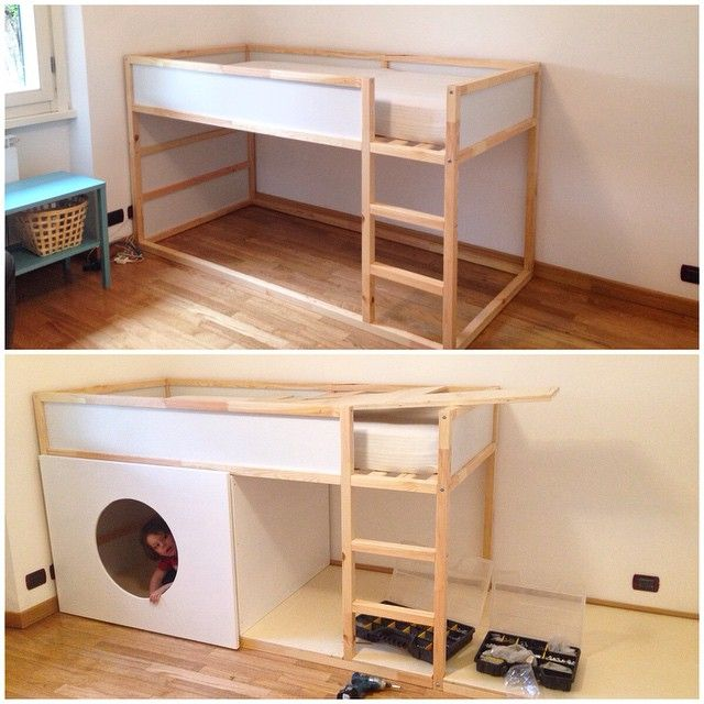 Works in progress for my New Ikea hack: Kura castle #diy #ikea #ikeahack…