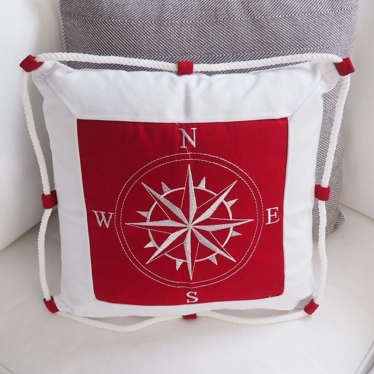 Hamptons nautical compass decorative cushion covers in red and white 40cm #hamptonsdecoronlineshop www.buildingworksaust.com.au