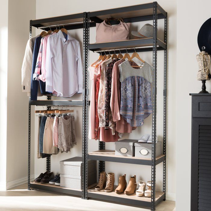 Belote 63 W Metal Closet System Clothes Storage Without A Closet Closet System Closet Shelves