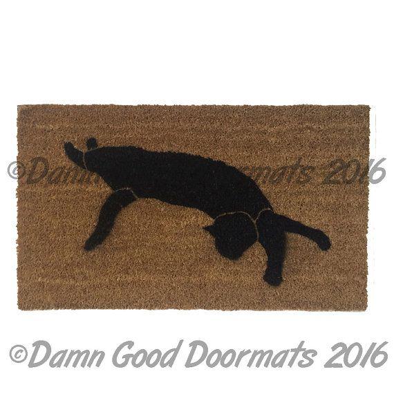 cat garden decor. Black Cat Silhouette Halloween Doormat By DamnGoodDoormats On Etsy Garden Decor