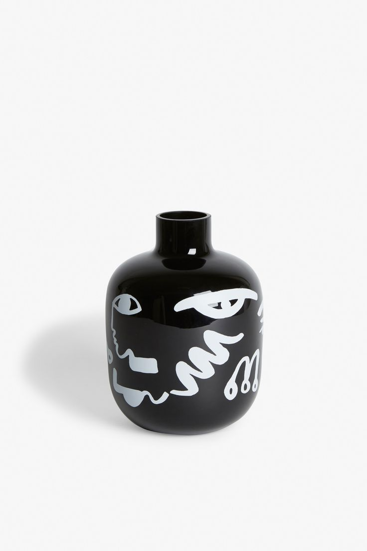 best  black vase ideas on pinterest  candle tray black office  - a ceramic lovers delight a black vase with an awesomely abstract printwhat's not