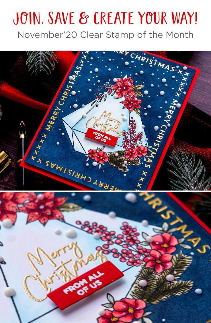 Spellbinders November 2020 Clear Stamp Of The Month Christmas Gem In 2020 Clear Stamps Stamp Month Club