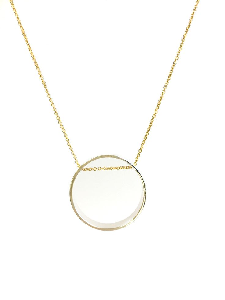 One Button necklace - medium necklace with open circle shape #clear #gold #springsummer #necklace #accessories #onebutton  Click to buy from the One Button shop.