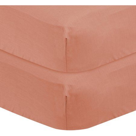 Bacati - Solid Fitted Crib/Toddler Bed Sheets 100% Cotton Percale, Coral, 2-Pack, Orange