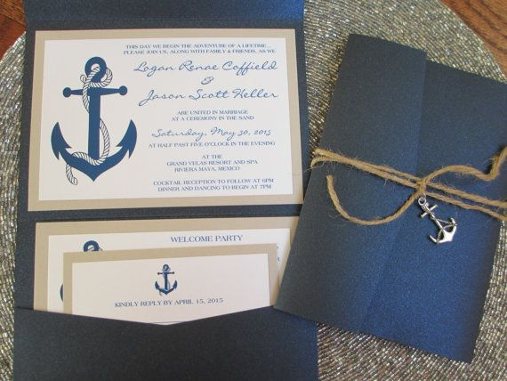 Nautical Theme, Destination Wedding Invitation, Anchor, Navy Blue, Pocket Invitation