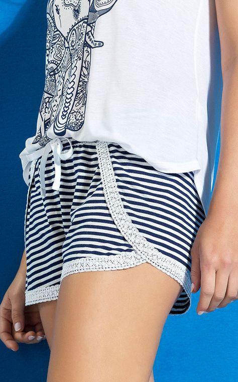 MAITE - Listras náuticas e inspiração oriental protagonizam o verão. Blusa de Modal 100%. Listrado e rendas de algodão exclusivas.