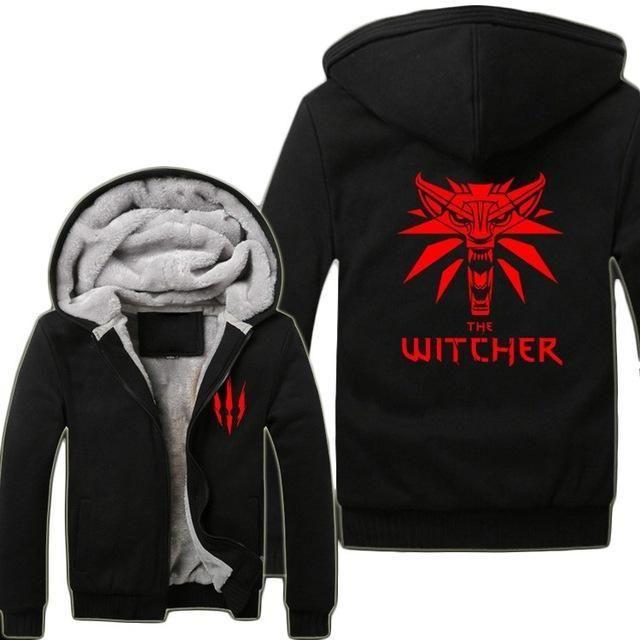 Game The Witcher 3 Wild Hunt Wolf Head Hoodies Super Warm Fleece Winter Zip up Printing Coats Sweatshirts US Size S-3XL
