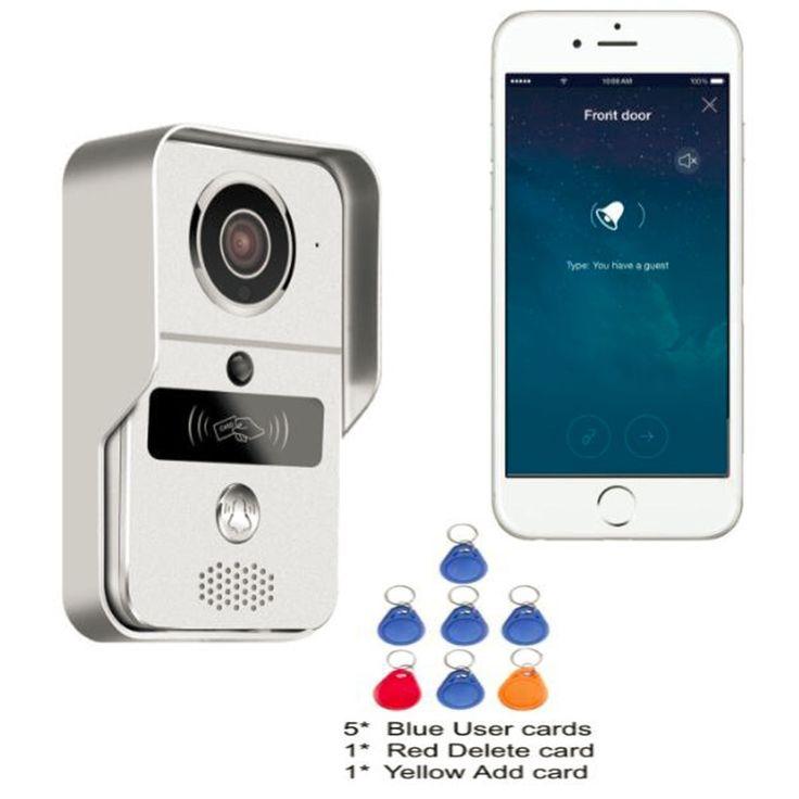 Wireless SD Card Video Recording Pintu Bell Telepon + RFID Keyfobs + Dalam Ruangan Wifi IP Pintu Bel Kamera POE untuk Menghubungkan ONVIF NVR
