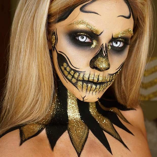 Black and Gold Glitter Skeleton Makeup Look for Halloween                                                                                                                                                                                 More