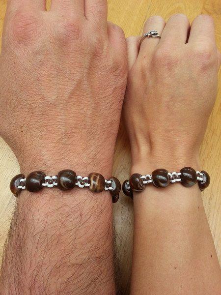 Unisex geknoopte armband met stenen van Made-by-Kelly op http://nl.dawanda.com/shop/bracelets-armbanden