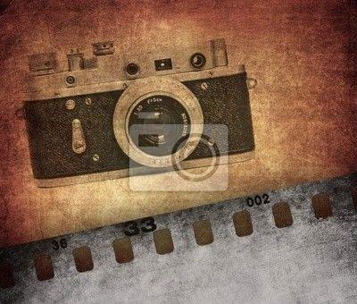 Vintage textura, staré filmové kamery na obrazech myloview. Nejlepší kvality plakáty, fototapety, myloview sbírky, nálepky, obrazy. Chcete si vyzdobit Váš domov? Pouze s myloview!