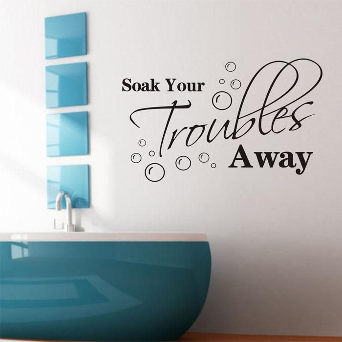 Lovely ShineLi 83x55CM Soak Your Troubles Away Fashion DIY Wall Stickers Decals  Book Part 15