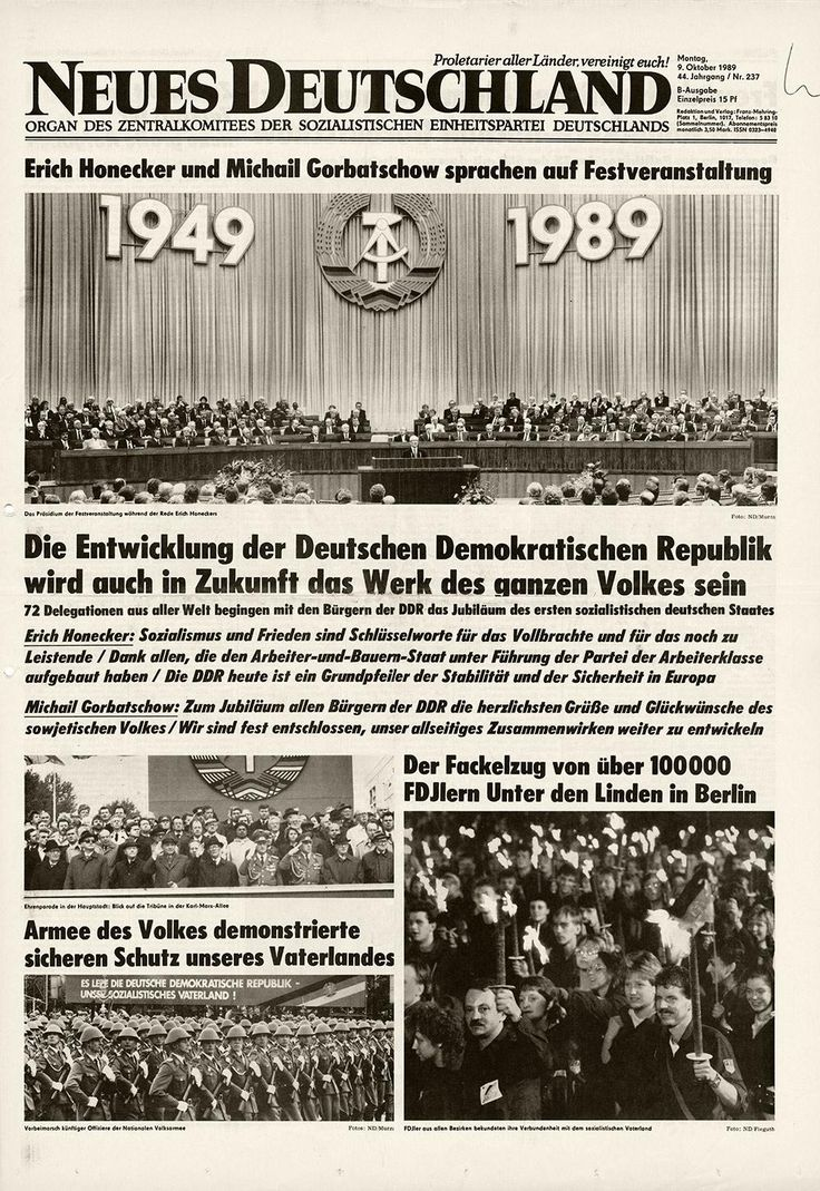 Cover of East German newspaper Neues Deutschland, with glowing headlines about the future of the GDR,1989 (via twitter.com/Mauerfall89/)