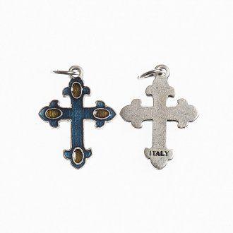 Croce 20 mm galvanica argento antico smalto azzurro ambra | vendita online su HOLYART