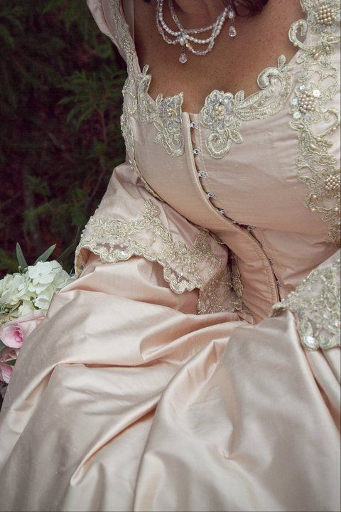 Marie Antoinette style silk gown detail