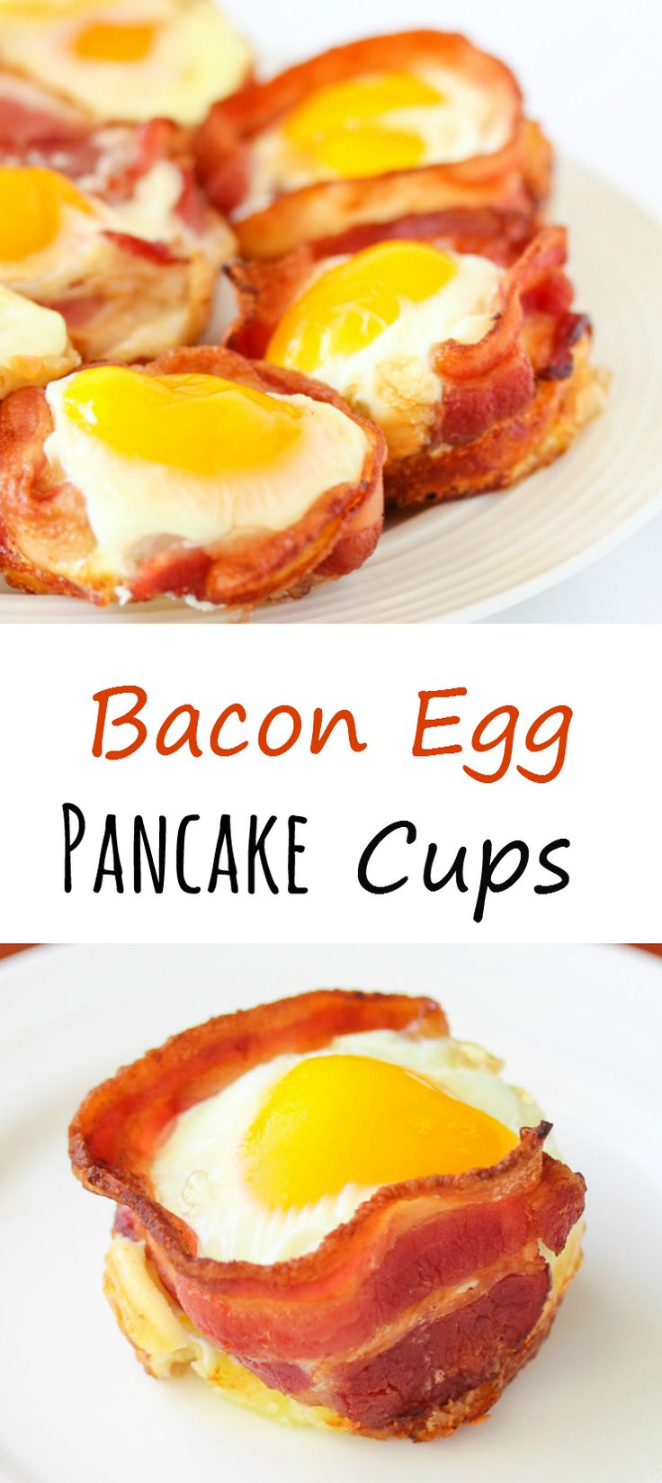 Bacon Egg Pancake Cups. All your favorite breakfast items wrapped into one neat package!