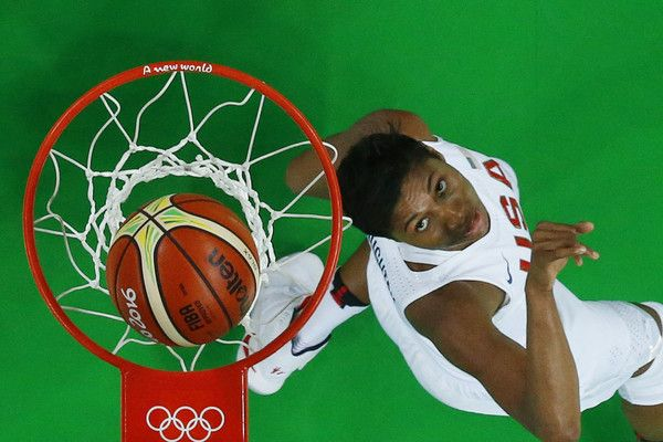 An overview shows USA's small forward Angel Mccoughtry watching the ball after scoring during a Women's Gold medal basketball match between USA and Spain at the Carioca Arena 1 in Rio de Janeiro on August 20, 2016 during the Rio 2016 Olympic Games.  / AFP / POOL / Jim YOUNG