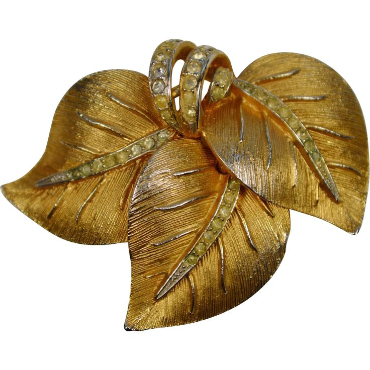 Vendome Gold Toned Three Leaves Rhinestone Brooch