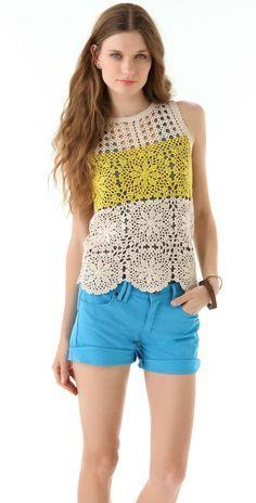 Crochetemoda: Blusa de Crochet Branca e Amarela
