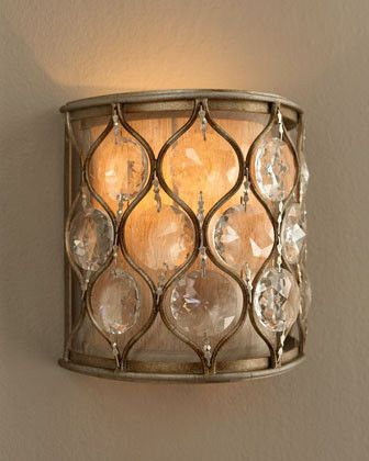 """""""Lucia"""" Wall Sconce - $195.00 [VisitStore»]  """"Lucia"""" Wall Sconce is a petite wall sconce, perfect for the places where a large sconce would overpower or be too large. It features a unique design of steel and sunflower-shaped Bauhinia crystals.  * 7.875""""W x 4.5""""D x 7.875""""T."""