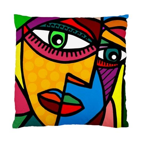 "Art Picasso Style Face Art Double Sided Satin Pillow/Cushion Cover. Make a statement with this original designer cushion in your living room or bedroom. The size is 17"" x 17"" and can easily insert sta"