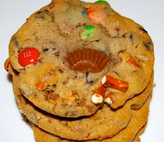 Trash cookies.(everything but the kitchen sink) Can't choose one kind to make? Make them all in one.