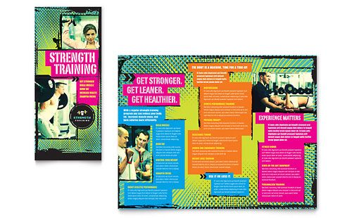 Strength Training   Personal Trainer Tri Fold Brochure Template by - gym brochure
