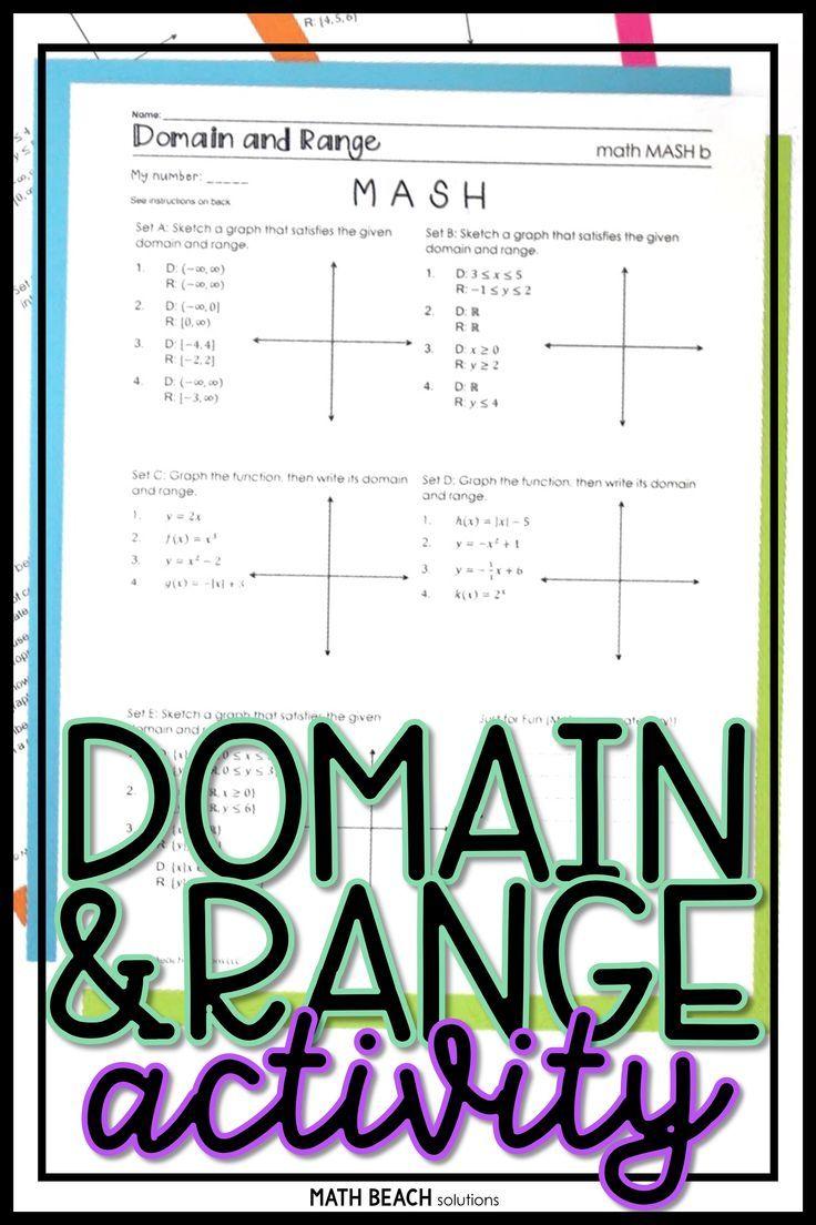 Domain And Range Math Mash Activity Algebra Worksheets Algebra Resources Math