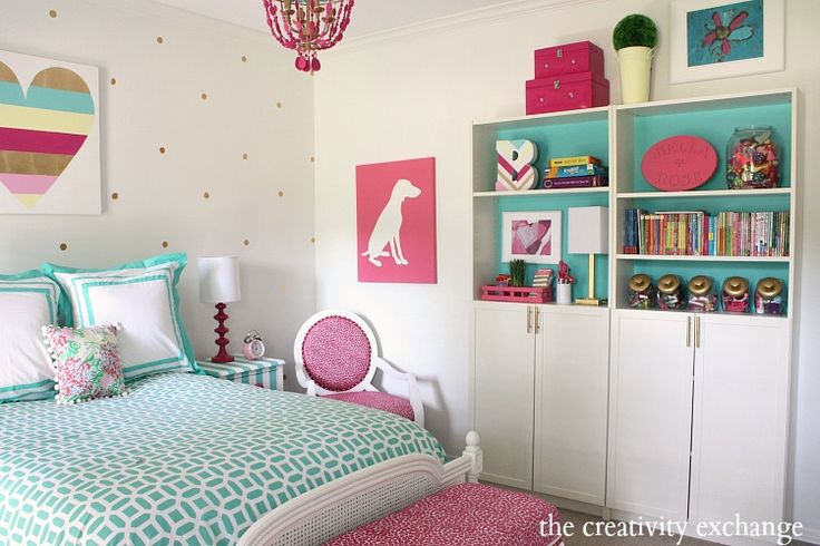 Girl's room revamp project. Several fun DIY projects. The Creativity Exchange