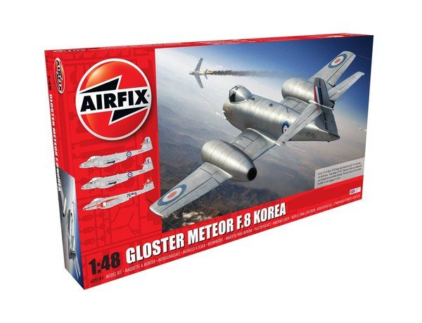 The Airfix 1/48 Gloster Meteor F8, Korean War from the plastic aircraft model kits range accurately recreates the real life jet aircraft flown during the Korean war.