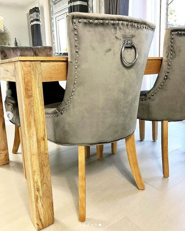 Fine Verona Dining Chair In Grey Velvet With Chrome Knocker And Gamerscity Chair Design For Home Gamerscityorg