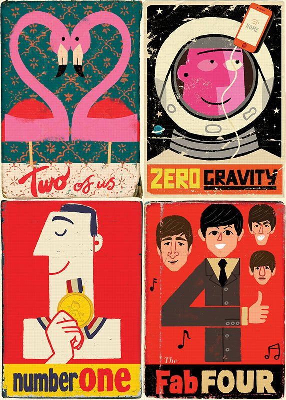 Paul Thurlby Illustrations - from the UK - view GREAT, retro-style signs, numbers & alphabet