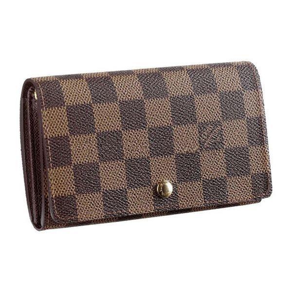Men Louis Vuitton Damier Ebene Canvas Tresor Wallet Brown N61730