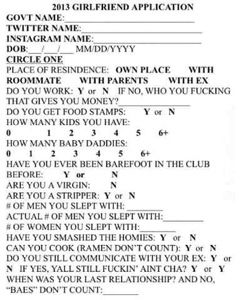 Girlfriend application form facebook