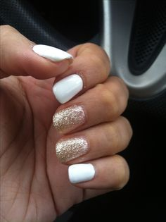"""White nails with gold glitter accent nails. <a class=""""pintag"""" href=""""/explore/shellac/"""" title=""""#shellac explore Pinterest"""">#shellac</a>…"""