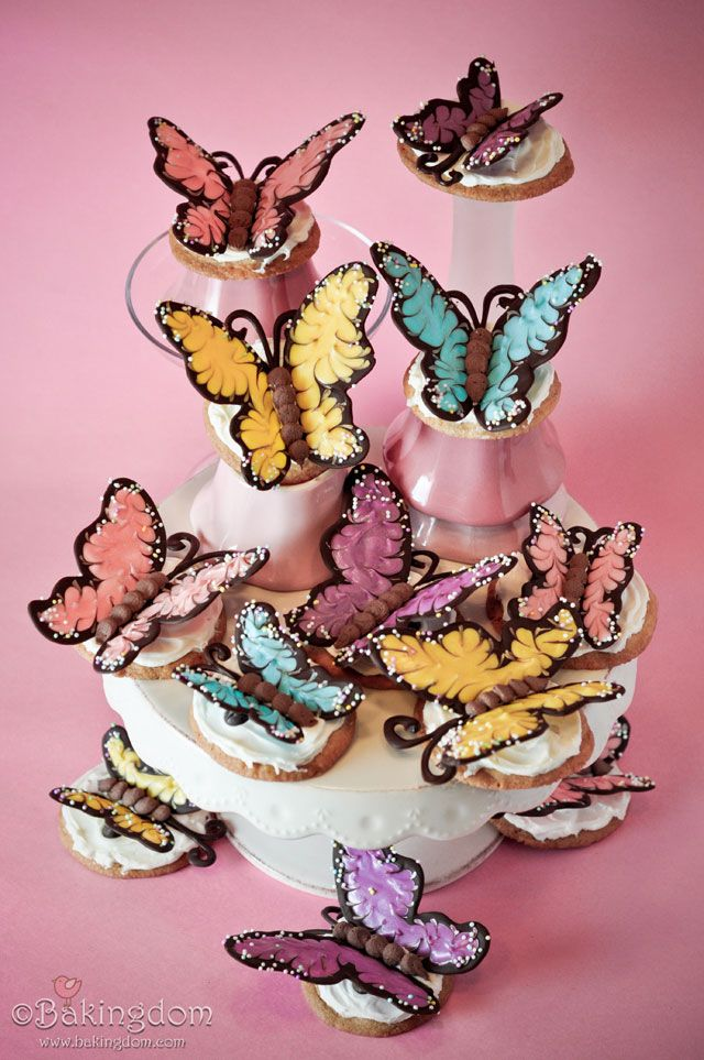Chocolate Butterfly Cookies Taking Flight
