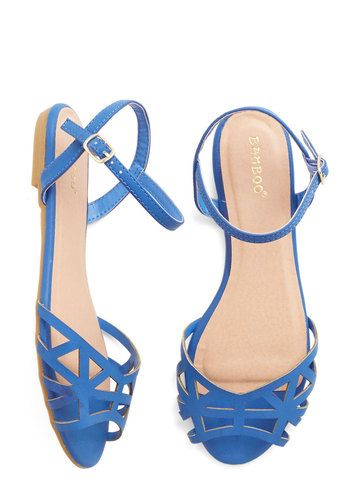Favorite Delicatessen Sandal in Cornflower Blue. For todays picnic, you swing by your fave deli in these strappy blue sandals to get some outdoor-dining essentials. #blue #modcloth