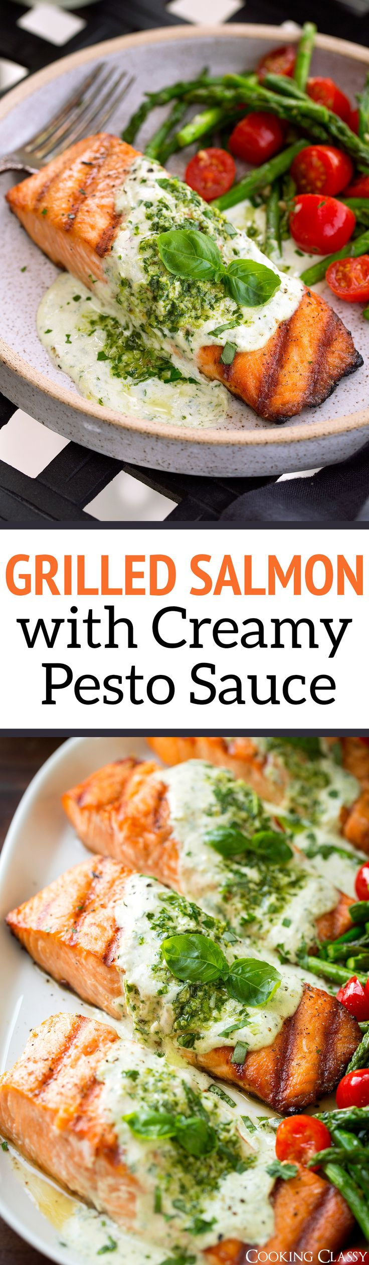 Grilled Salmon with Creamy Pesto Sauce - Cooking Classy