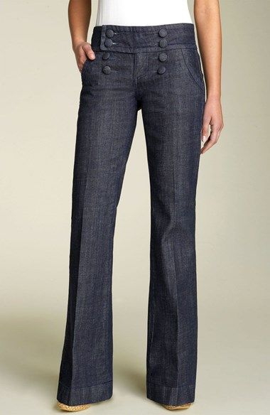 Free shipping and returns on Kut Kollection KUT Stretch Sailor Jeans at Nordstrom.com. Fabric-covered buttons detail the front of stylish sailor jeans cut from subtly crosshatched stretch denim with a slightly higher waist.
