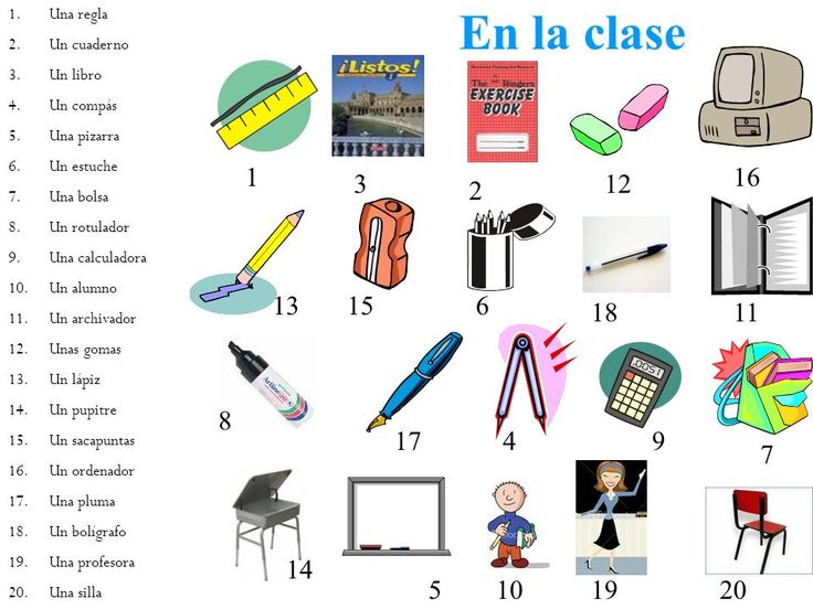 En la clase vocabulario la escuela pinterest for 10 objetos del salon en ingles