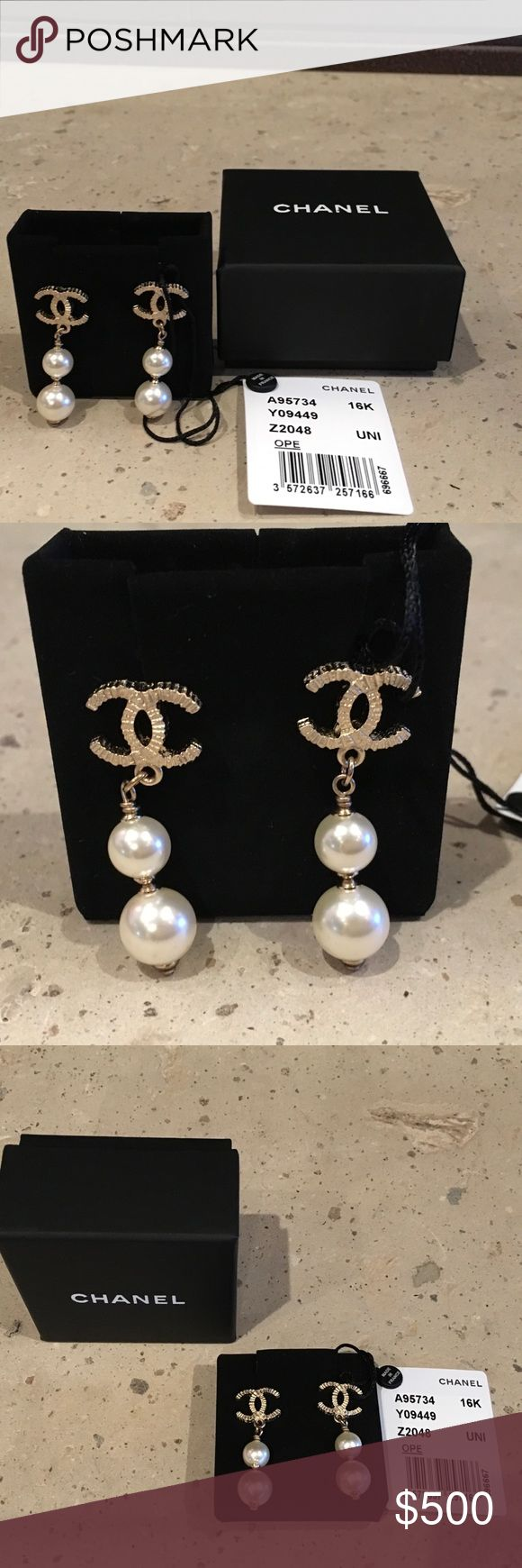Chanel Earrings NIB/NWT. Chanel Gold Tone CC's with Two Drop Pearls. These Are Elegant, Refined and Classic Chanel. Never Worn. Pristine Condition. Includes Box, Pouch, and Retail Tag. Price Firm. CHANEL Jewelry Earrings