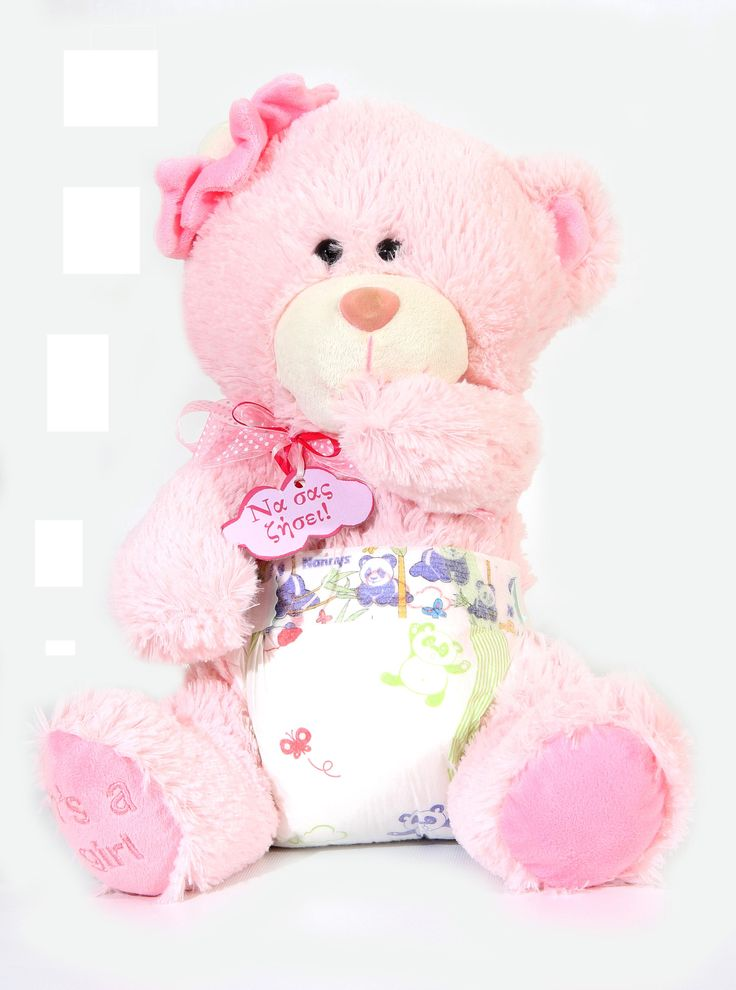 We make Teddy Bears the way they should be made, with child-safe eyes and fur that's soft, washable, flame resistant, and hypoallergenic. Our Baby Girl Bear is dressed in a diaper. #NewBaby #TeddyBear