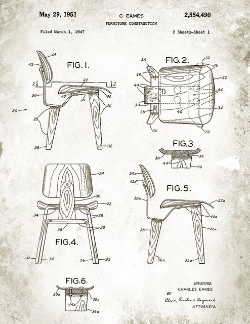 Patent Illustration for the Charles Eames DCW Chair. Image byDave & Anna Douglass #Illustration #Chair #Eames