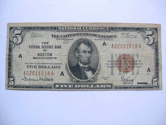 Series of 1929 Five 5 Dollar Bill National Currency Federal Reserve Bank of Boston